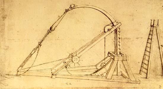 Catapulta elastica e la robotica - Leonardo da vinci